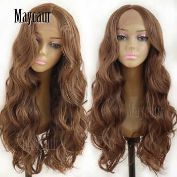 Maycaur Hair Middle Brown Color Long Body Wave Hair Lace Wigs Glueless Heat Resistant Synthetic Lace Front Wigs for Black Women
