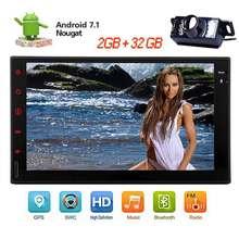 """Libre de la Cámara + Android 7.1 Estéreo Del Coche de 7 """"Pantalla Táctil capacitiva 2 de Doble Din GPS Del Coche No DVD Player Bluetooth Autoradio De Radio Wifi"""