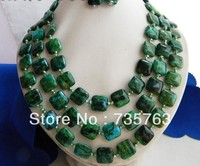 xiuli 00189 3Strands 18'' 15MM Malachite Green Baroque Freshwater Pearl Earring Necklace