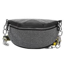 купить Fashion Rivets PU leather Chain Bag For The Belt Waist Bag Bananka Travel Wild Fanny Pack Women Catwalk Belly Band Belt bag по цене 1250.63 рублей