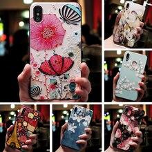 Für Huawei Honor 10i 20e Fall 3D Relief Tier Blume Relief Abdeckung Für Huawei Ehre 10i 10 ich Honor10i HRY-LX1T schwarz Silikon