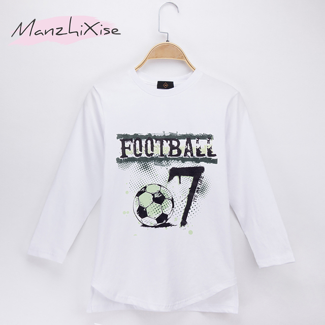05fe42aa862 2018 Special Discount Kids Clothes Children T-shirt Football No. 7 100%  Cotton Full Boys Long Sleeve T Shirts Baby Tops 4T-14T