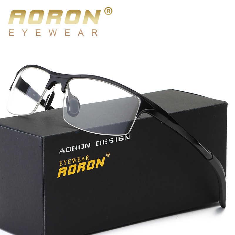 d59bdf22a6f AORON Aluminum Magnesium Eyeglasses Frame Men Spring hinge Eye Glasses  Frames for Male half rim Spectacles
