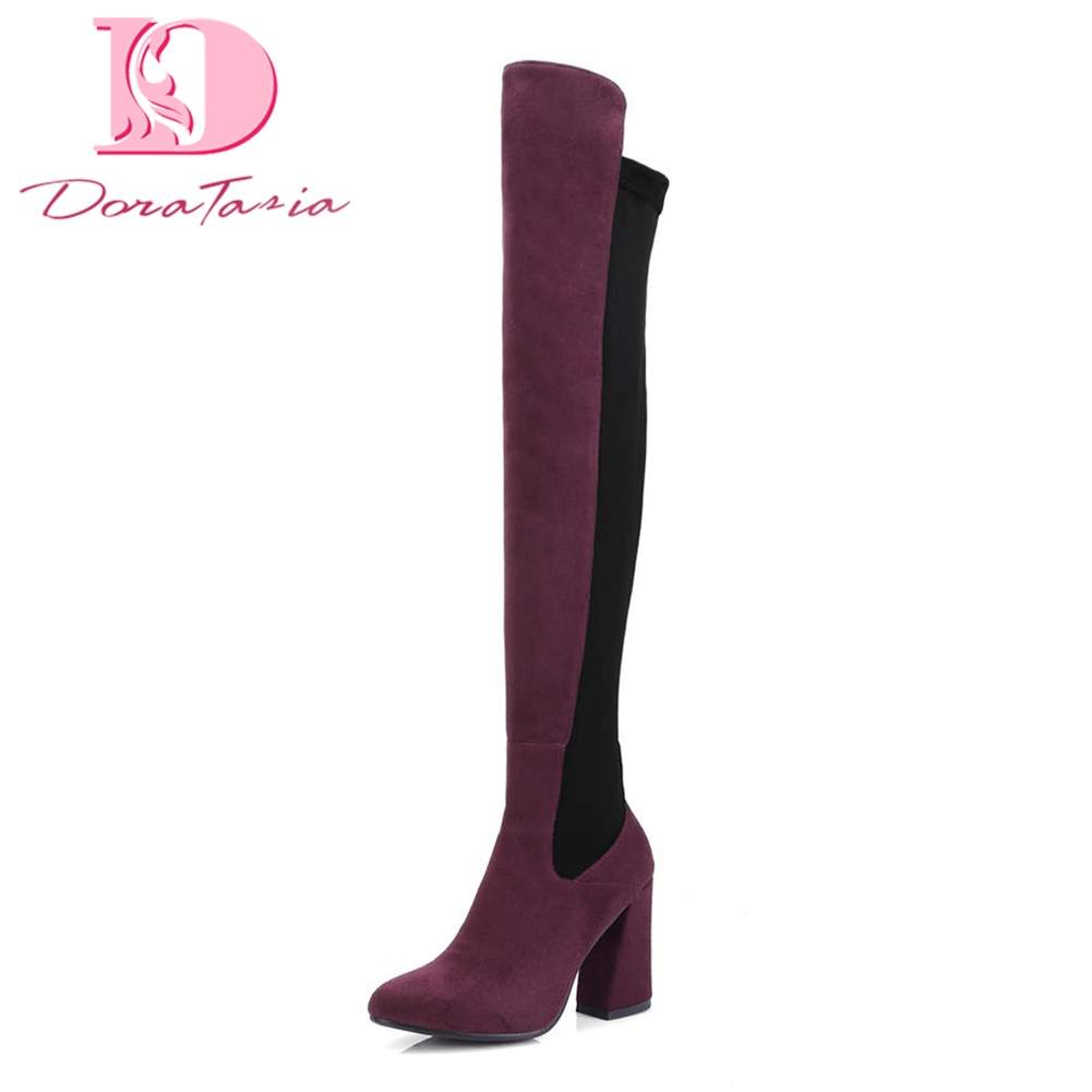 Doratasia Brand new dropship Large Size 34-43 High Heels Boots Woman Shoes Hot Sale Over The Knee Boots Female Shoes Woman doratasia 2018 large size 34 43 chunky heels women boots shoes slip on over the knee high boots leisure fashion shoes woman