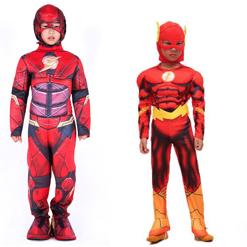 Children kid the Flash costume boy hallowen party cosplay dress super hero movie costume clothes