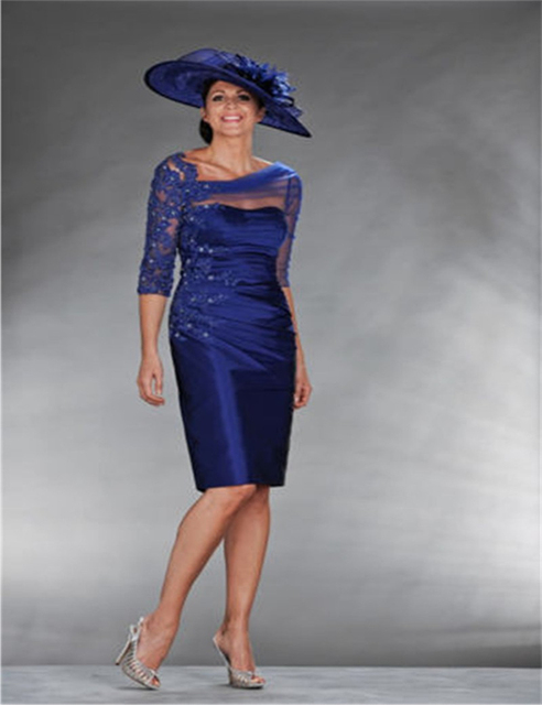 Sexy See Through Corset Royal Blue Mother of the Bride Dresses with Sleeves  2016 Beaded Lace Mother of the Groom Short Gowns ea83945e5d3c