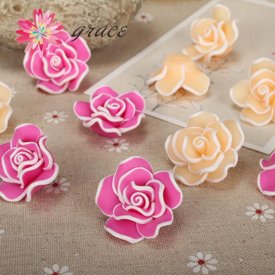 8pcs/lot 30mm 3d Classical Polymer Clay Fimo Flowers Rose ...