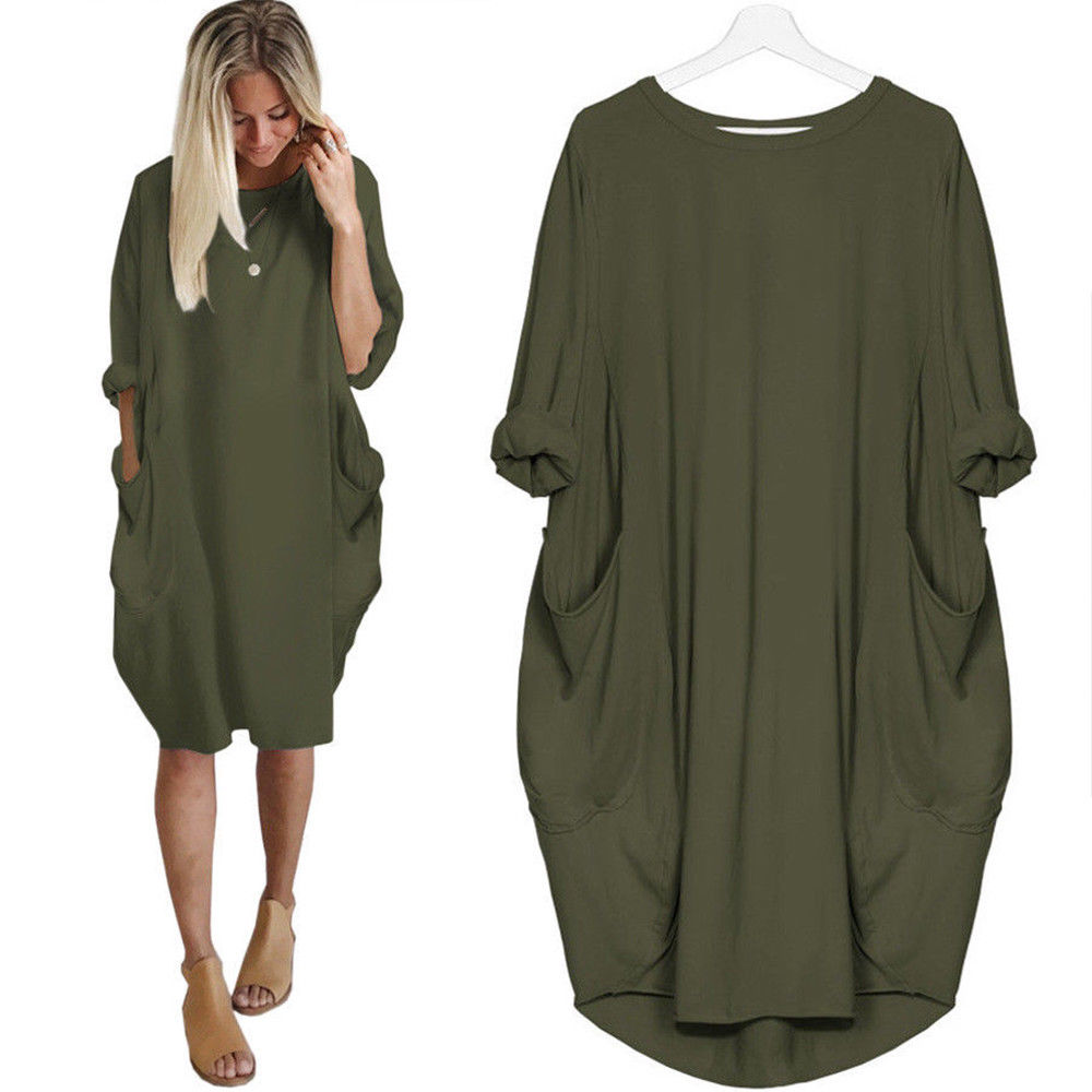 YANDW Women Dress Sleeve Casual Hip Hop Baggy Shirts Italian Lagenlook  Quirky Boho Jersey Soft Cotton Stretch Loose Pocket Tunic-in Dresses from  Women s ... 1fc8421e71f2