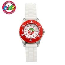 JACQUES FAREL Crianças dos miúdos relógios moda bonito simples à prova d' água relógios de Pulso de Quartzo Meninas Morango