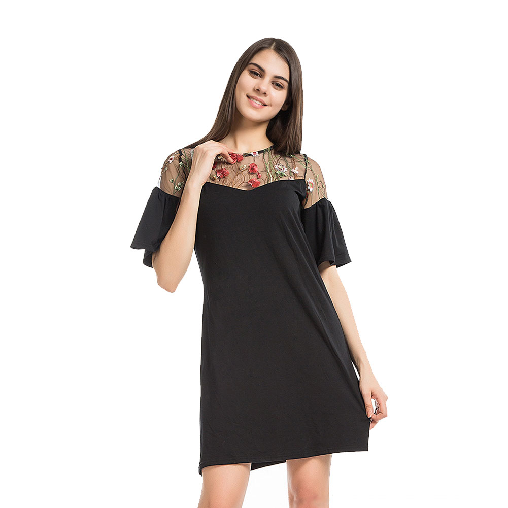 6b213e3dc556 Autumn Summer Short Sleeve Casual Plus Size Women Mini Dresses Sexy  Neckline Perspective Gauze Embroidery Flower Black Dress-in Dresses from  Women's ...