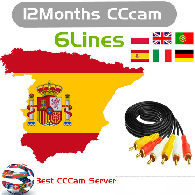 1 Year CCcams for Satellite Receiver 6 Clines Europe FULL HD DVB-S2 Server Support Spain Italy German Cccams via USB dongle