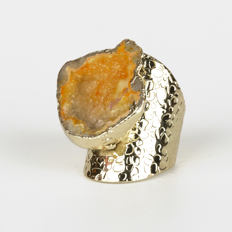 Pure Gold Color Rough Raw Orange Geode Quartz Crystal Druzy Stone Slice Bead Charm Adjustable Open Hammered Ring Cuff for Women