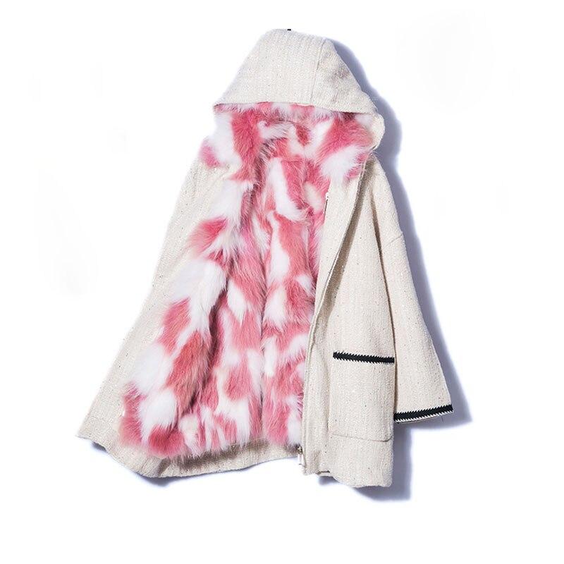 2018 pink Naturel Fourrure Réel Streetwear Veste Hiver Épais Capot White En Parka 2 Femmes Doublure Renard De Femelle Blue multi Manteau White Chaud In1 Long wgIIdq