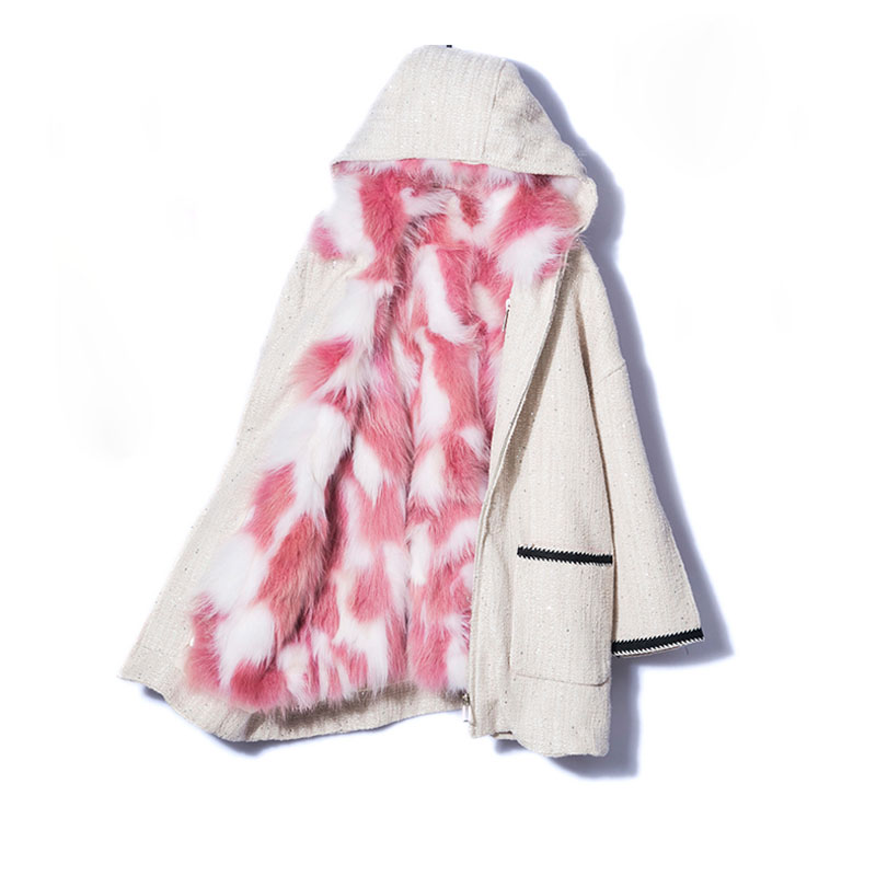 Real Natural Fur Coat 2019 Winter Jacket Women Long   Parka   Hood Natural Fox Fur Liner 2 In1 Thick Warm Streetwear Female Jacket
