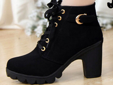 Autumn winter 2014 women new plus velvet short boots thick heels wild black matte female korean OL Martin boots XZ03