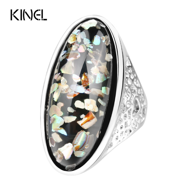 Luxury 7 Color Shells Ring For Women Dazzle Artificial Coral Accessories Silver Plated Vintage Oval Big Rings