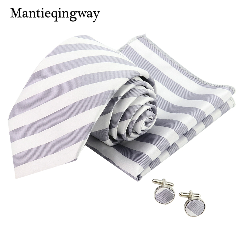 Fashion Striped Neck Ties Cufflinks Chest Towel Suits Sets Polyester Groom Necktie Corbatas Pocket Square Ties