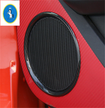 Carbon Fiber Style ! ABS For Ford Mustang 2015 2016 2017 High Quality Car Door Stereo Loudspeaker Sound Speaker Ring Cover Trim