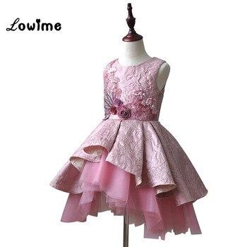 Flower Girl Dresses First Communion Dresses Knee Length Pink Vestido Daminha Comunion Girls Dresses 2018 Pageant Dresses