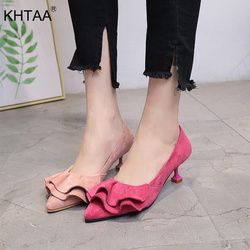 KHTAA Fashion Ruffle Women Pumps Female Kitten Heel Sweet Slip On Pointed Toe Shoes Thin High Heels Ladies Casual Spring Shoes