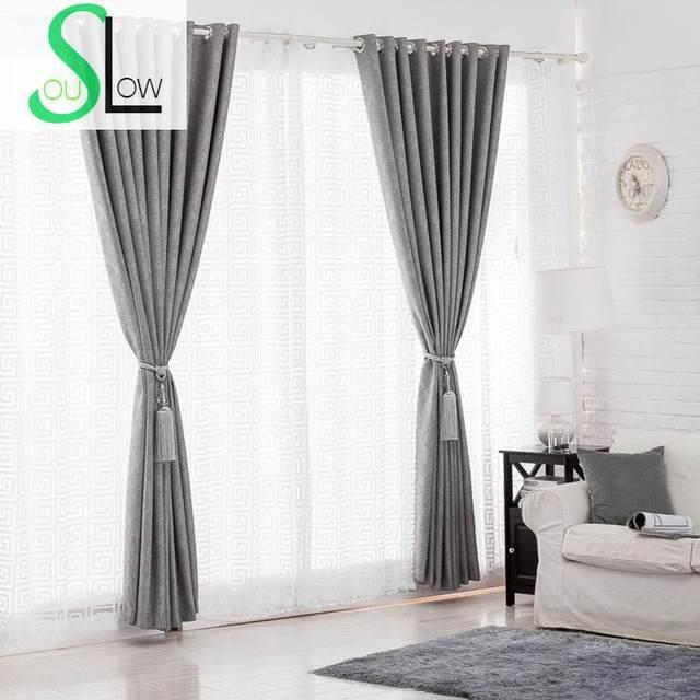 lento alma gris tela de tul blanco de lino grueso relieve geomtrico bordado cortina cortinas para la cocina dormitorio sala de estar - Cortinas Lino