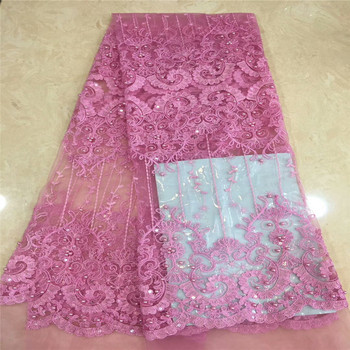 2018 Latest French Nigerian Laces Fabrics High Quality Tulle African Laces Fabric Wedding African French Tulle Lace XC8-45