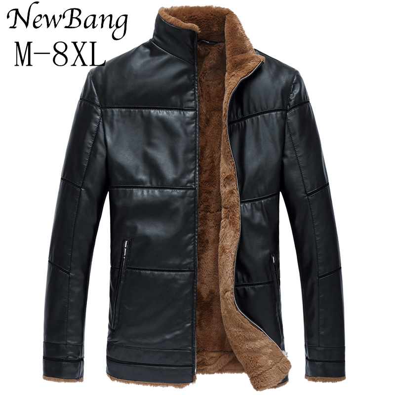 6XL 7XL 8XL Fashion Men Winter Leather Jacket Brown Leather Jacket Big Size Faux Fur Lined Coats Winter Faux Leather Jacket men plus size 4xl 5xl 6xl 7xl 8xl 9xl winter pant sport fleece lined softshell warm outdoor climbing snow soft shell pant