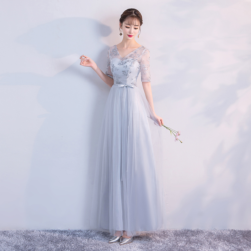 2019 grey colour Dress Bridesmaid Long Dress for Wedding Party for Dress Elegant in Bridesmaid Dresses from Weddings Events