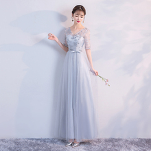 2019 grey colour Dress Bridesmaid Long for Wedding Party  Elegant