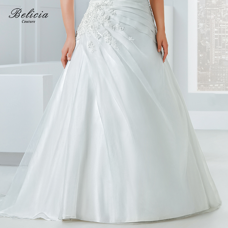 Belicia Couture Wedding dress Plus Size Organza Beading Appliques Strapless  Bridal Gown Floor Length Lace Up Back Pleat Waist-in Wedding Dresses from  ... 09ef7fd4550c
