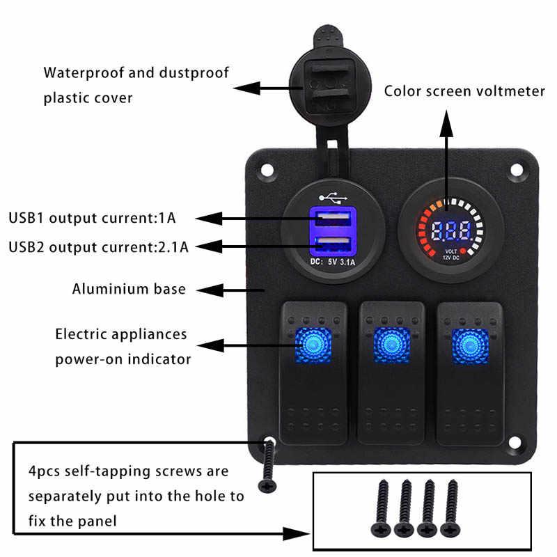 2018 Car RV Conversion Accessories Car Usb Mobile Phone Charger Voltmeter Rocker Switch Panel Led Light CSL88