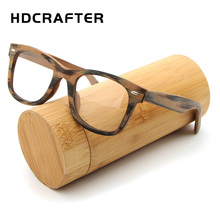 HDCRAFTER Prescription Glasses Frame Retro Wooden Plain Myopia Glasses with Clear Lens Wood Square Eyeglasses Frames Eyewear