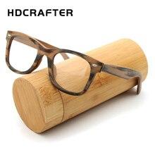Hdcrafter処方メガネフレームレトロ木製無地レンズサングラスカバーラップ近視クリアレンズ木製スクエア眼鏡フレーム眼鏡