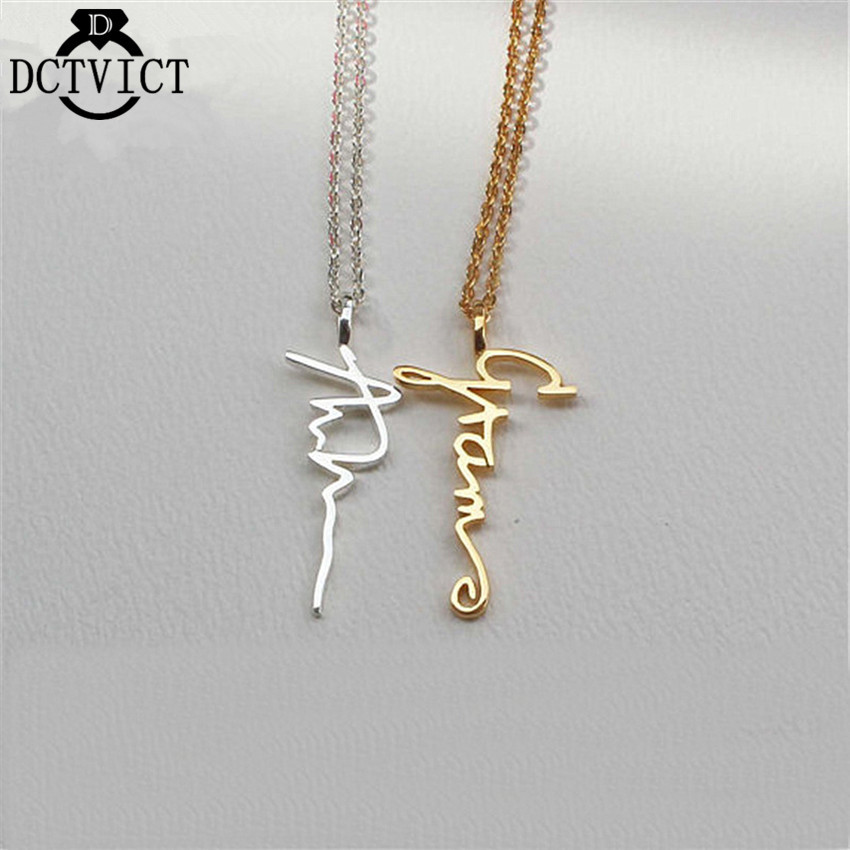 Gold Collier Personalized Signature Necklaces Custom Jewelry Stainless Steel Font Name Pendant Necklace Women Birthday Gifts epiphone ltd matt heafy signature les paul custom ebony