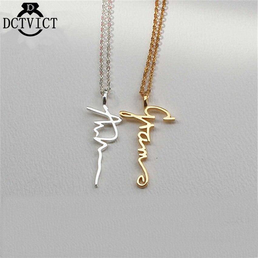 WUNDERSCHÖNE TALE Gold Personalisierte Unterschrift Hals Benutzerdefinierte Schmuck Für Frauen Geschenk Angepasst Vertikale Name Anhänger Halsketten
