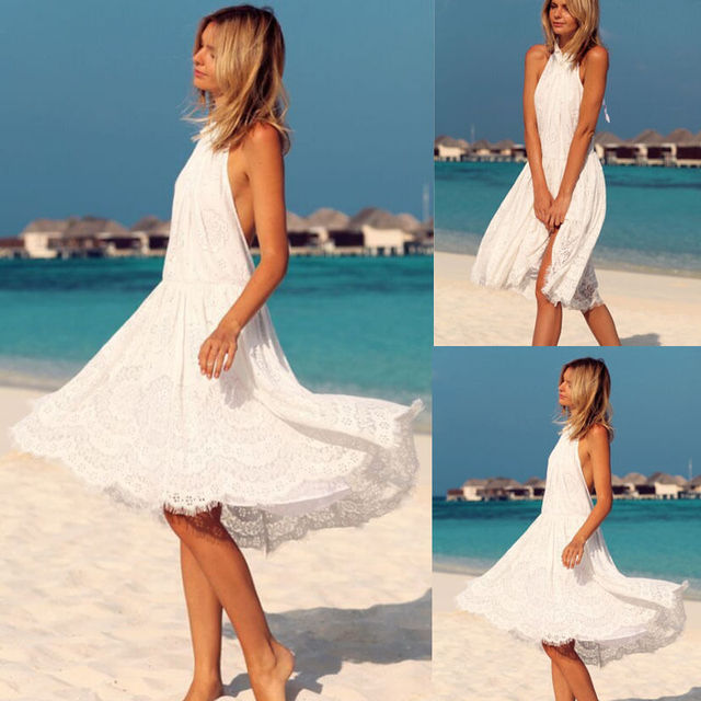 18e70dc9f40 Sexy Women Lace Boho Dress Summer Long Maxi Evening Party Beach Dresses  Sundress