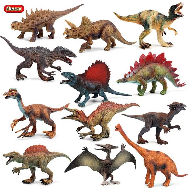 Prehistoric Oenux Dinossauro Jurassic Dinossauro Velociraptor Pterosauria T-Rex Modelo Figuras de Ação PVC Coleção Toy Kids Presente
