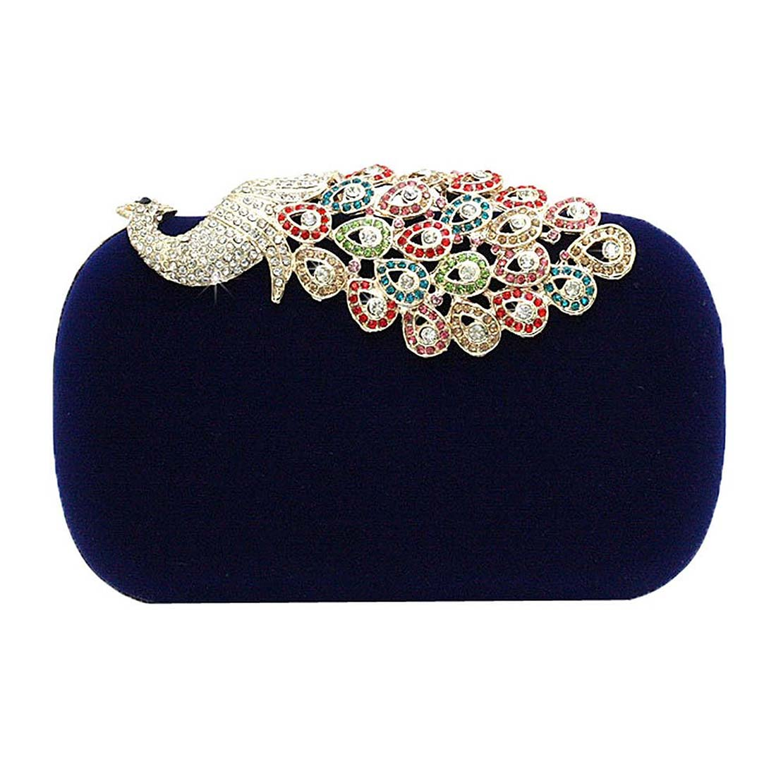 b071a226445 Hot Women Rhinestone Peacock Velvet Party Clutch Evening Bags