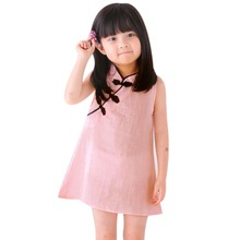 ФОТО chinese style girls dresses fashion baby solid color vintage sleeveless slim fit cheongsam dress lovely kids princess clothes