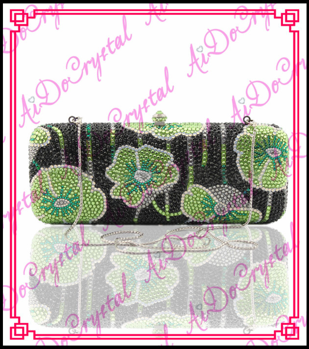 Aidocrystal handmade crystal bestrewed green flower pattern with detachable chain women s bag for wedding party