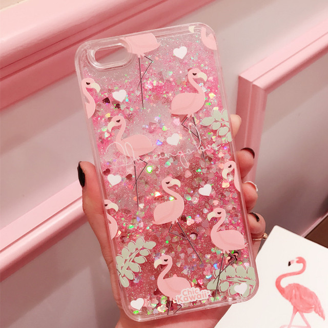 wholesale dealer 98c50 0a300 US $3.59 20% OFF|Glitter Capinha For iPhone 8 7 Plus 6 6s Quicksand Cover  For iPhone 6 Apple Case Flamingo Hard Shell ipone 6 s Coque Capa-in Fitted  ...