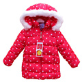 Girls winter coat cotton faux fur hooded polka dot duck down jacket for girl parka casual middle thick warm kids winter jacket пуховик для девочки  зимние куртки для девочек куртки для девочек зима