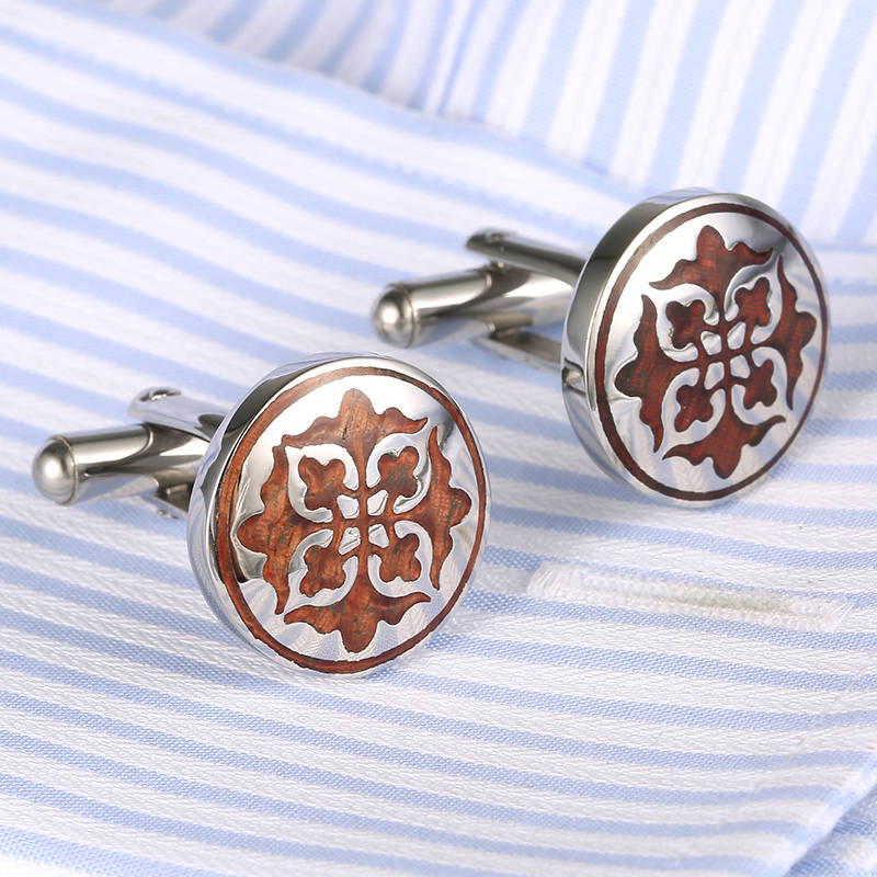 2017 Drop Ship New Round Red Wood Stainless Steel Cufflinks VAGULA High end apparel accessories French men Cuff links 361
