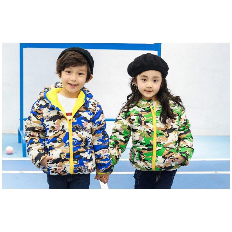 2016 Yeni Stil Çocuk Aşağı Palto Kamuflaj Karikatür Baskılı Boys Ceket kız coat Kış Sıcak Bebek Outwears çocuklar kapüşonlu ceket