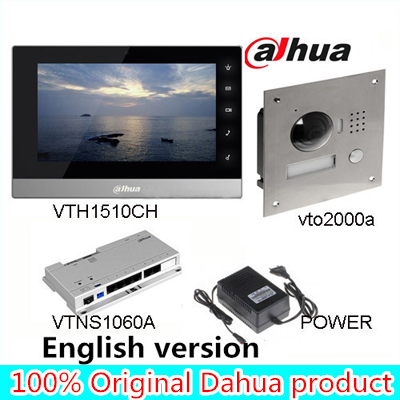 Original 7 Inch Touch Screen Dahua VTH1510CH Color Monitor with VTO2000A outdoor IP Metal Villa Outdoor Video Intercom sysytem 7 inch video doorbell tft lcd hd screen wired video doorphone for villa one monitor with one metal outdoor unit night vision