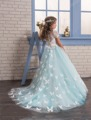 Light Blue Lace Puffy Pageant Dressess for Kids Tulle Flower Girls Dresses for Special Occasion Real Photos Holy Communion Dress