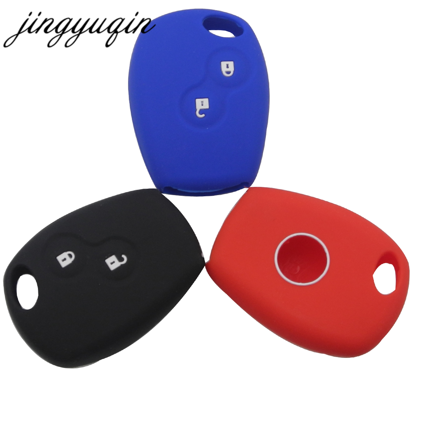 jingyuqin Silicone Key Case For Renault Megane Modus Laguna Duster Logan DACIA Sandero Fluence Clio Kango for Niaan Almera Opel for renault megane 2 fluence duster logan small hole ventilate wear resistance pu leather front