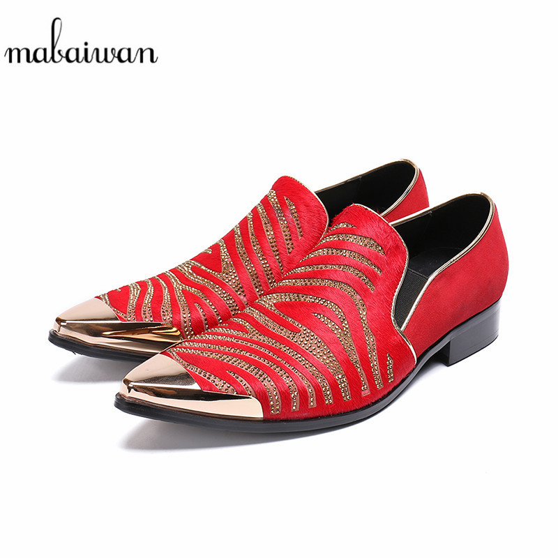 Mabaiwan New Luxury Red Casual Men Gold Metal Toe Slip On Party Wedding Shoes Men Handmade Cow Suede Banquet Prom Loafers Flats new arrived royal blue rhinestone mens loafers luxury fashion slip on men suede shoes handmade men s wedding and prom shoes