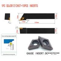 10pcs DCMT070204 Carbide Insert 1pcs SDJCR1212H07 12mm Boring Bar Tool Holder 1pcs Wrench For Lathe Turning