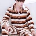 Pijamas de invierno de Los Hombres Calientes de Espesamiento de Franela Hombre Del Pijama Establece Homewear Desgaste Del Salón Cómodo Coral Polar ropa de Noche Masculina de Los Hombres